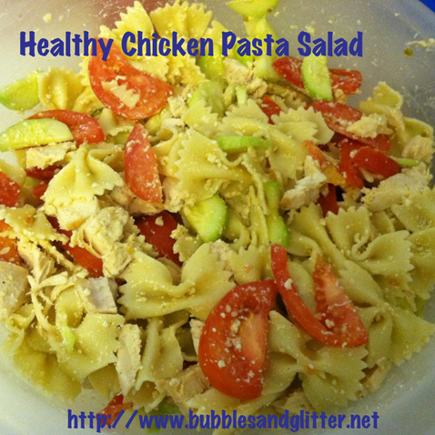 Healthy Chicken Pasta Salad | Bubbles and Glitter