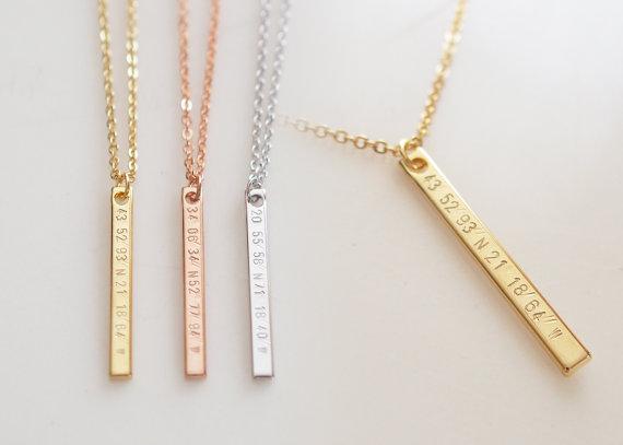 Vertical Coordinates Necklace